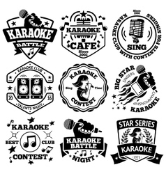 set of Karaoke labels badges vector image