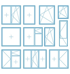 Set of plastic window frame symbol vector image vector image