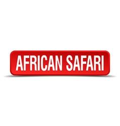 African safari red three-dimensional square button vector