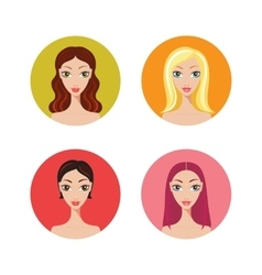 Beautiful young woman with trendy hairstyles icons vector image vector image