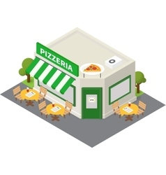 Isometric pizzeria building icon vector