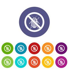 no potato beetle sign set icons vector image