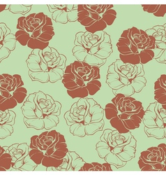 Seamless green floral pattern with brown roses vector image vector image