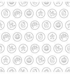 Seamless halloween cartoon pattern with characters vector