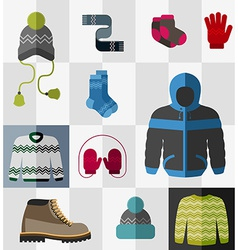 Set of flat winter clothes and accessories vector image vector image