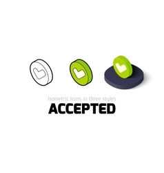 Accepted icon in different style vector image