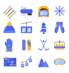 accessories of winter sport icon set in vector image