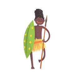 black skinned man aborigine warrior with spear and vector image