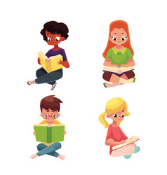 children boys and girls reading interesting book vector image vector image