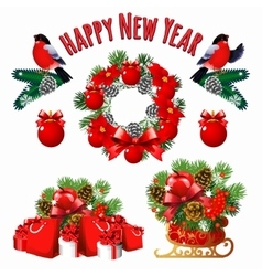 Christmas and new year set of decoration vector image vector image