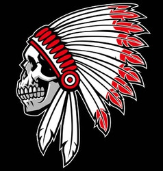 indian chief skull vector image vector image