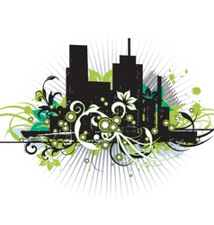 urban floral grunge city vector image vector image
