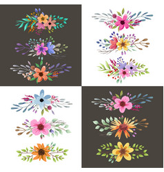 watercolor floral bouquet with leaves and flowers vector image