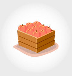 Box with fresh peaches eco products vector