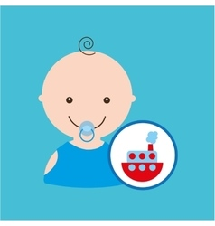 Funny red ship toy baby icon vector
