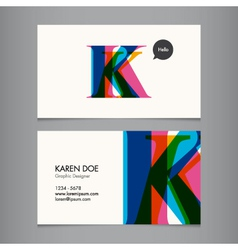 K business card vector image vector image