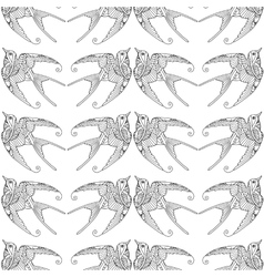 Seamless pattern with ornamental swallow bird vector image vector image
