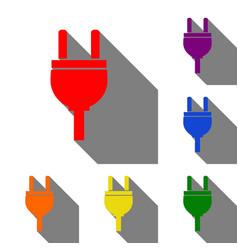 socket sign set of red orange vector image