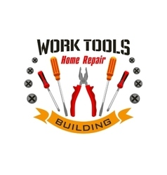 Work tools icons for home reapir emblem vector image vector image