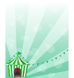 A green circus tent in a wallpaper design vector