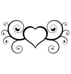 Abstract heart useful floral black and white vector
