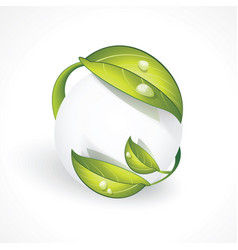 abstract sphere icon with green leaves vector image