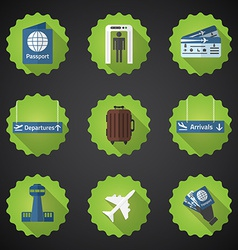 Airport Flight traveling Flat Icon Set Include vector