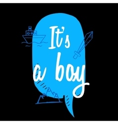 Baby shower boy inscription with doodle elements vector image