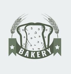bakery logo with sliced fresh bread wheat ribbon vector image