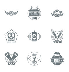 Beer snack logo set simple style vector