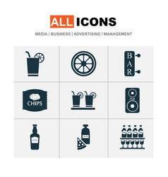 beverages icons set with elite rum chips bar and vector image