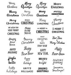 Big set handwritten phrase merry christmas vector