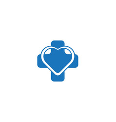 blue cross and love medical logo designs vector image