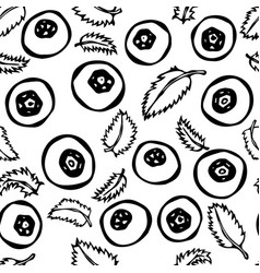 Blueberry and leaves seamless doodle style vector