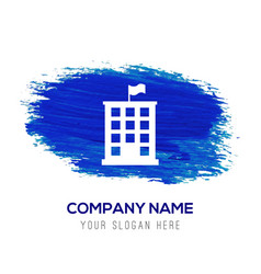 building icon - blue watercolor background vector image
