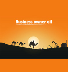 business owner oil silhouette of camel riders vector image