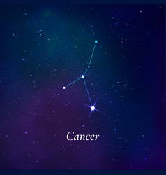 Cancer sign stars map zodiac constellation on vector