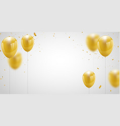 Celebration party banner with gold balloons vector