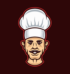 Chef head in hat cartoon style vector