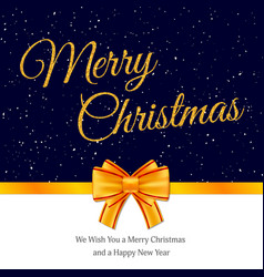 christmas gift card with golden baw vector image