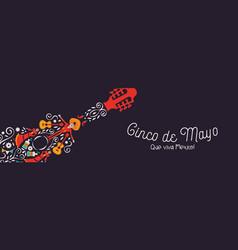cinco de mayo guitar banner culture icons vector image