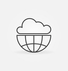 cloud with earth outline icon vector image