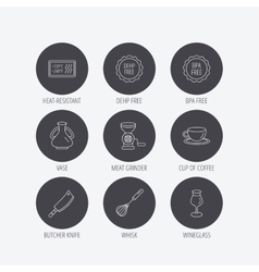 Coffee cup butcher knife and wineglass icons vector image vector image