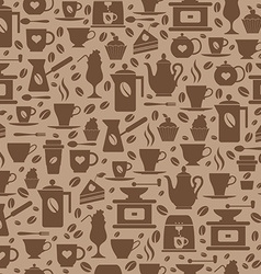 Coffee seamless pattern with a cups vector image