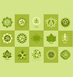 collection of yoga studio logos design template vector image