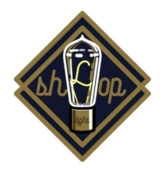 Color vintage lighting shop emblem vector