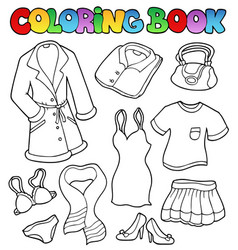 coloring book dress collection 1 vector image