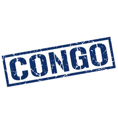 Congo blue square stamp vector
