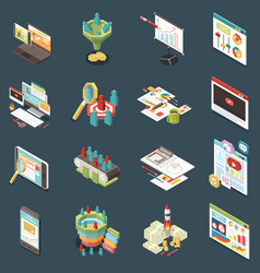 conversion rate isometric icons set vector image