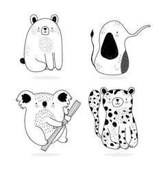 cute animals sketch wildlife cartoon adorable vector image